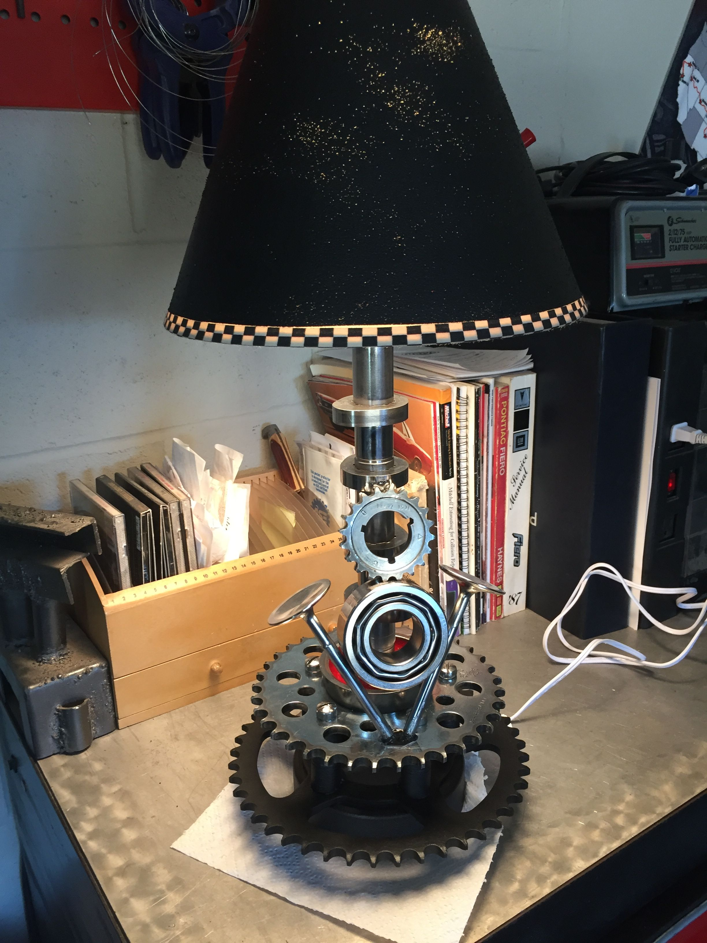 Another Version Of A Table Lamp. Made With Motorcycle And Car Used Parts.  Lamp