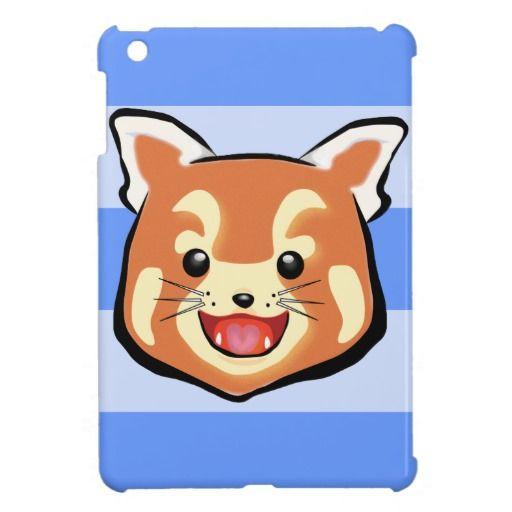 Cute Red Panda  (Blue Stripes) iPad Mini Case