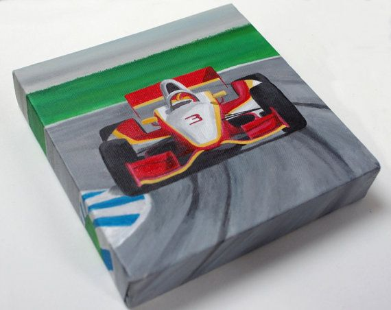 racing car canvas painting original boys room by cutecanvasco 2500