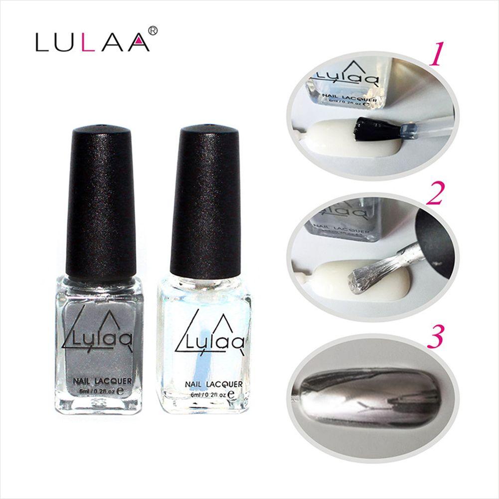 2pcs LULAA Brand 6ml Mirror Effect Silver Metal Nail Art Polish ...