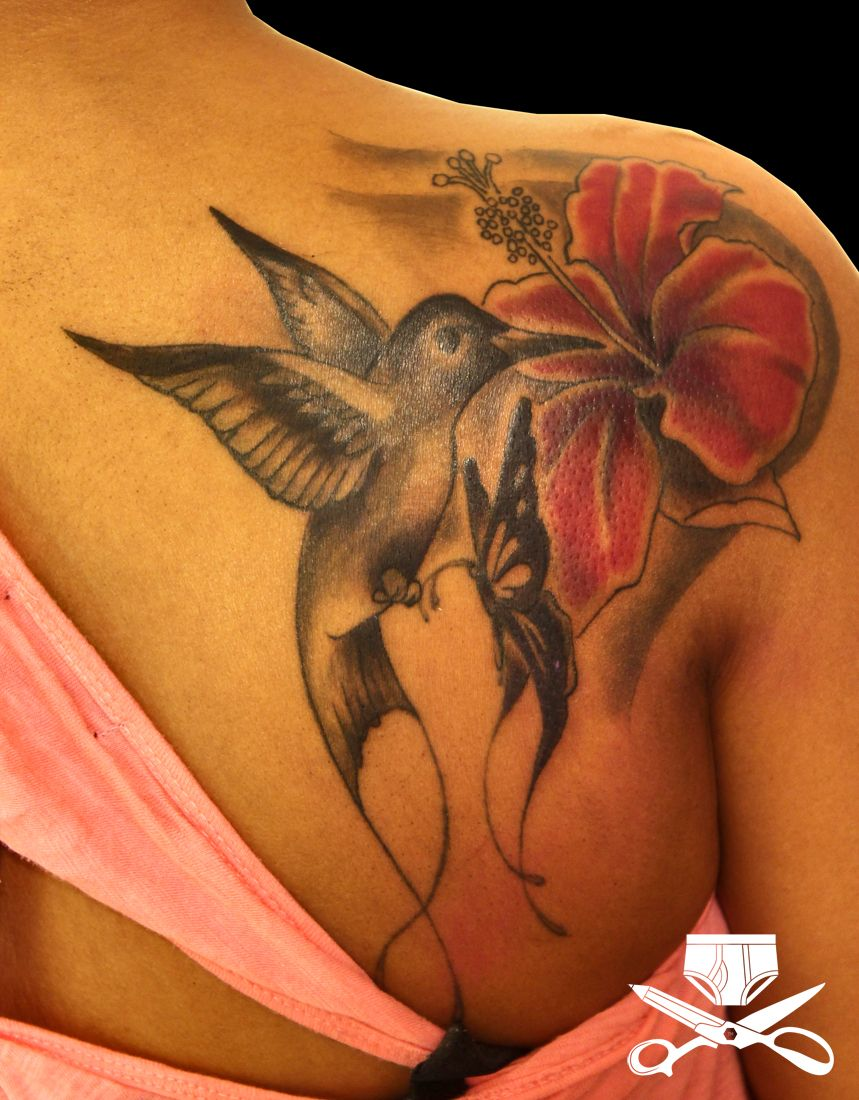 Hibiscus Hummingbird And Musical Notes On Shoulder Google Search