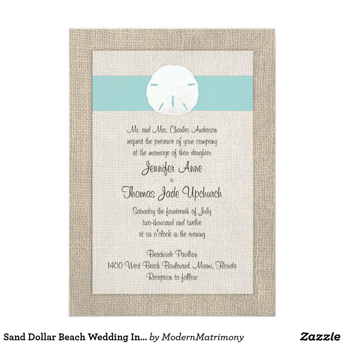 Sand Dollar Beach Wedding Invitation - Turquoise | Beach Wedding ...