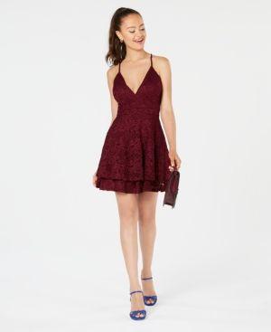 d41e6212 Emerald Sundae Juniors' Glitter Lace Racerback Dress - Purple L ...