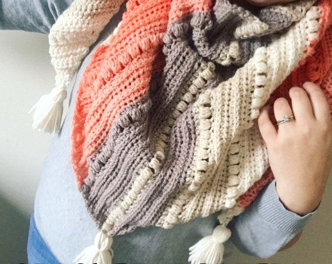 Crochet Scarf PATTERN- Triangle Scarf- Cowl- Shawl- Oversized scarf ...