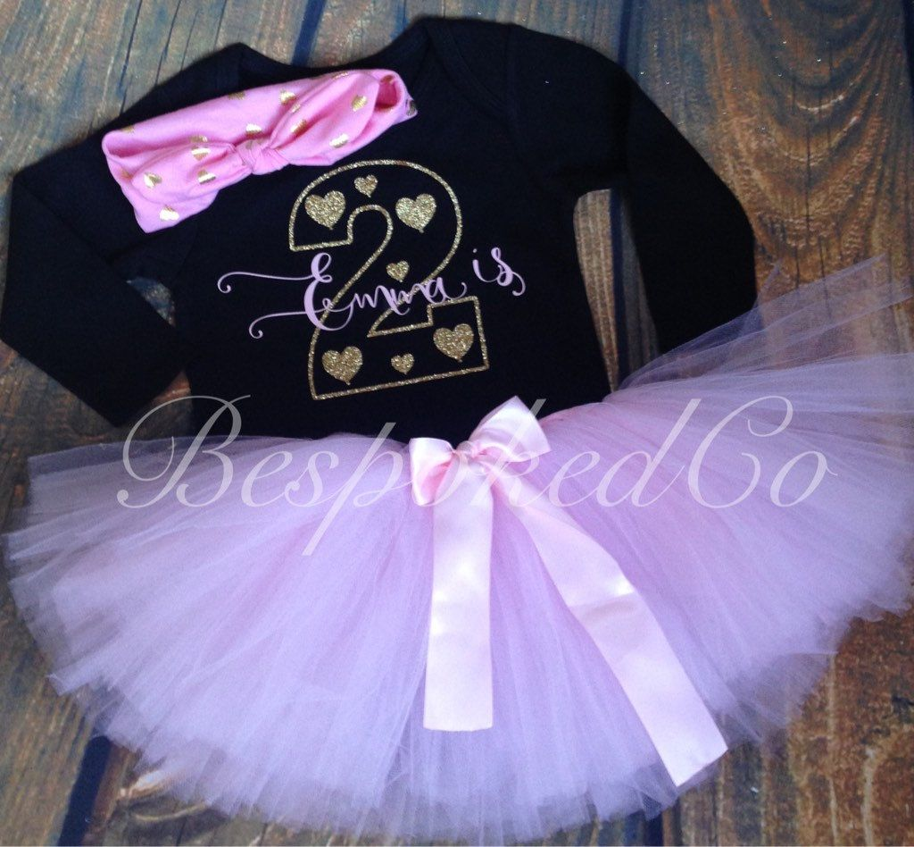 Baby girl Second Birthday Outfit/ Pink and Gold Second Birthday ...