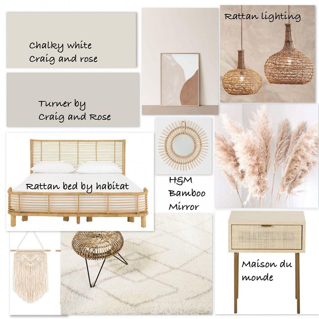 "Online Home Styling's Instagram profile post: ""Modern bohemian soothing bedroom. #moodboard #neutraldecor #neutralinterior #craigandrose #rattandecor #bamboodecor #interiorsmoodboard…"""