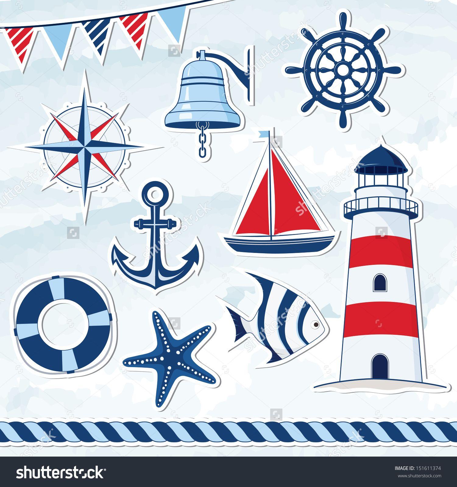 Nautical design elements: anchor, starfish, wheel, boat, fish, rope ...
