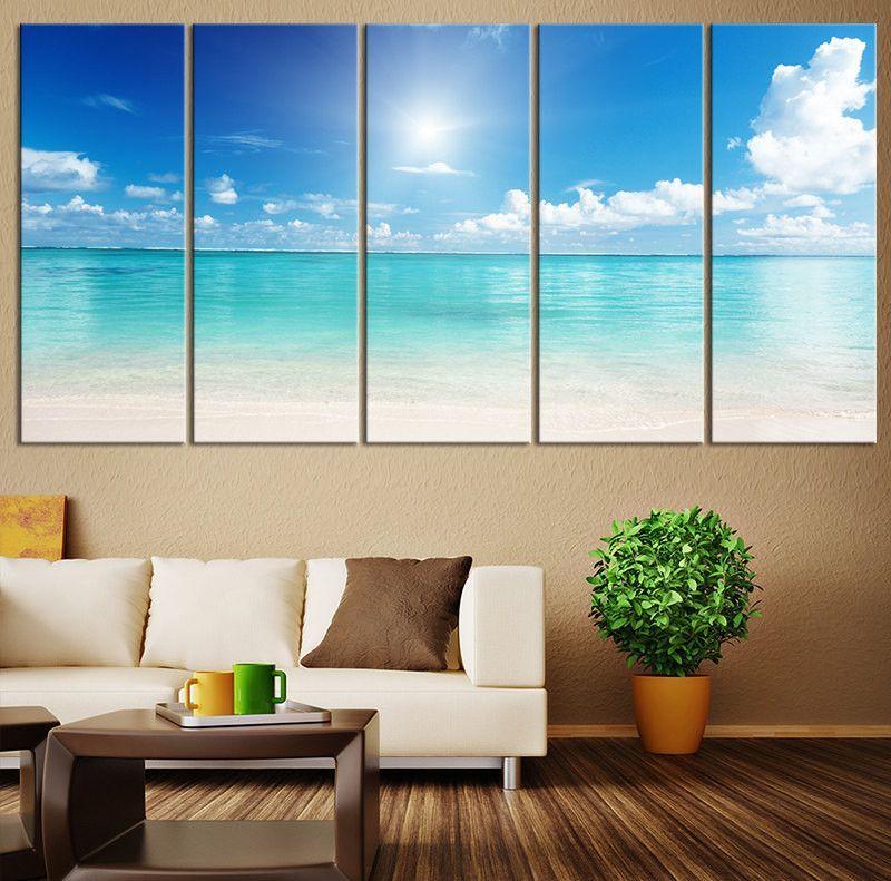 Large Canvas Print Ocean Landscape, Wall Art Sun On Ocean Canvas Print