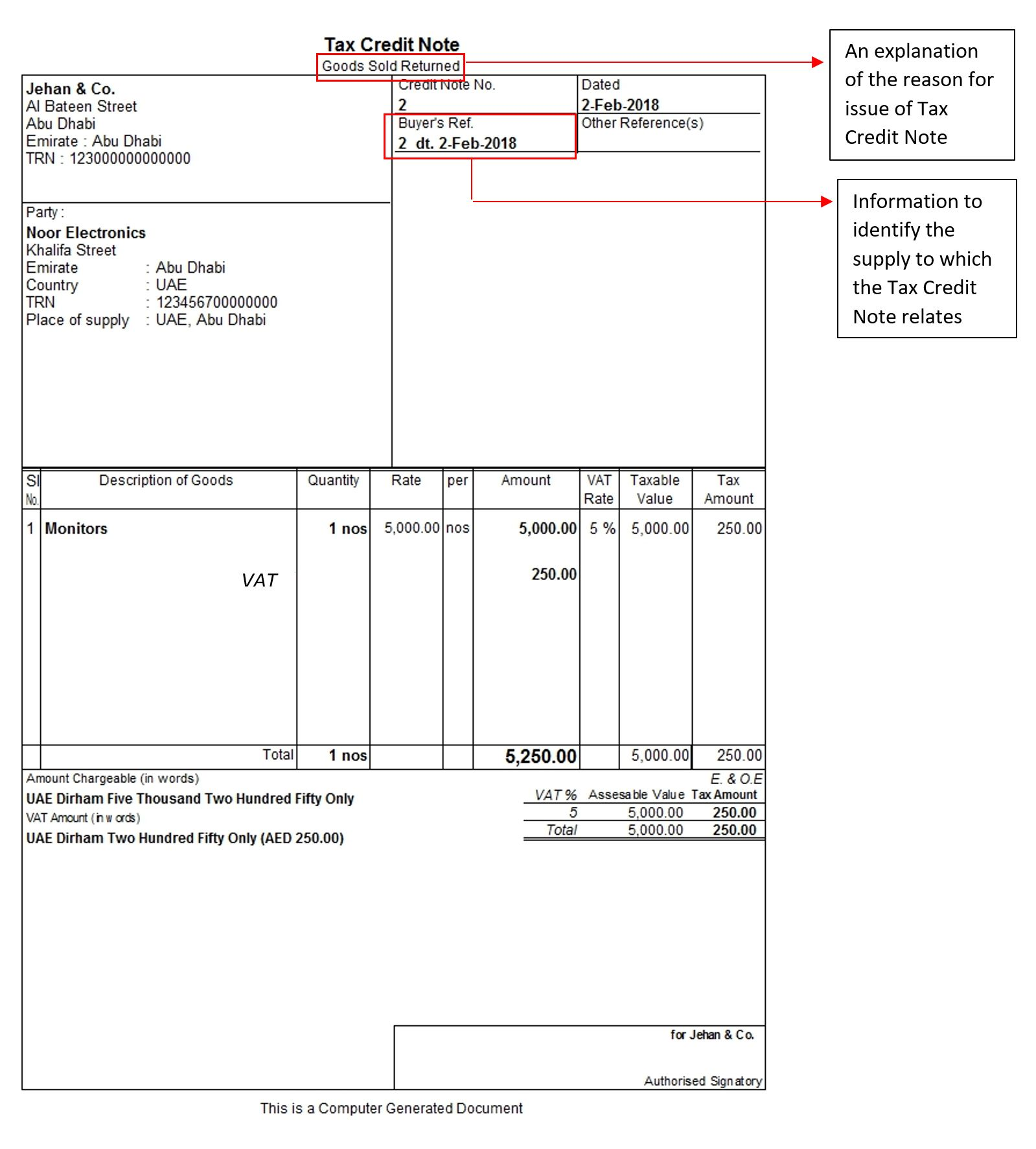Tax Credit Note Under Vat In Uae Credit Note Format Business Template Notes Template Tax Credits