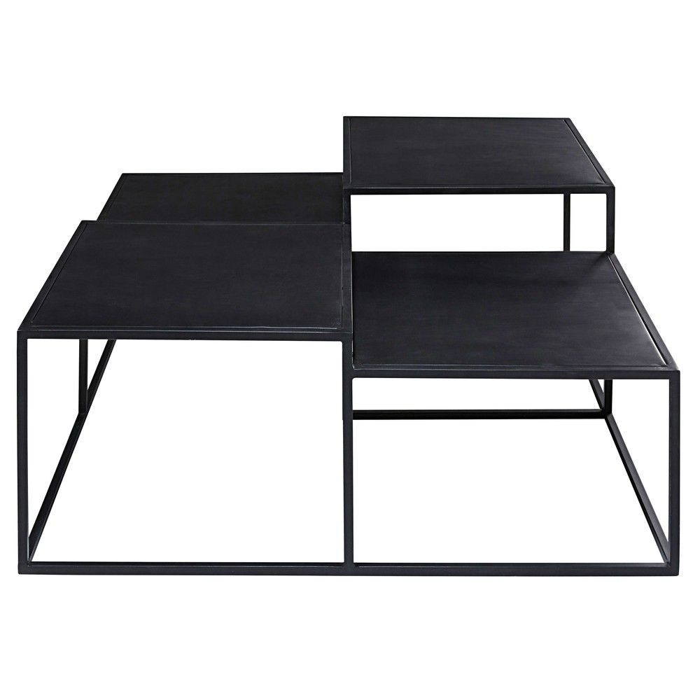 Table Basse 4 Plateaux En Metal Noir Table Basse