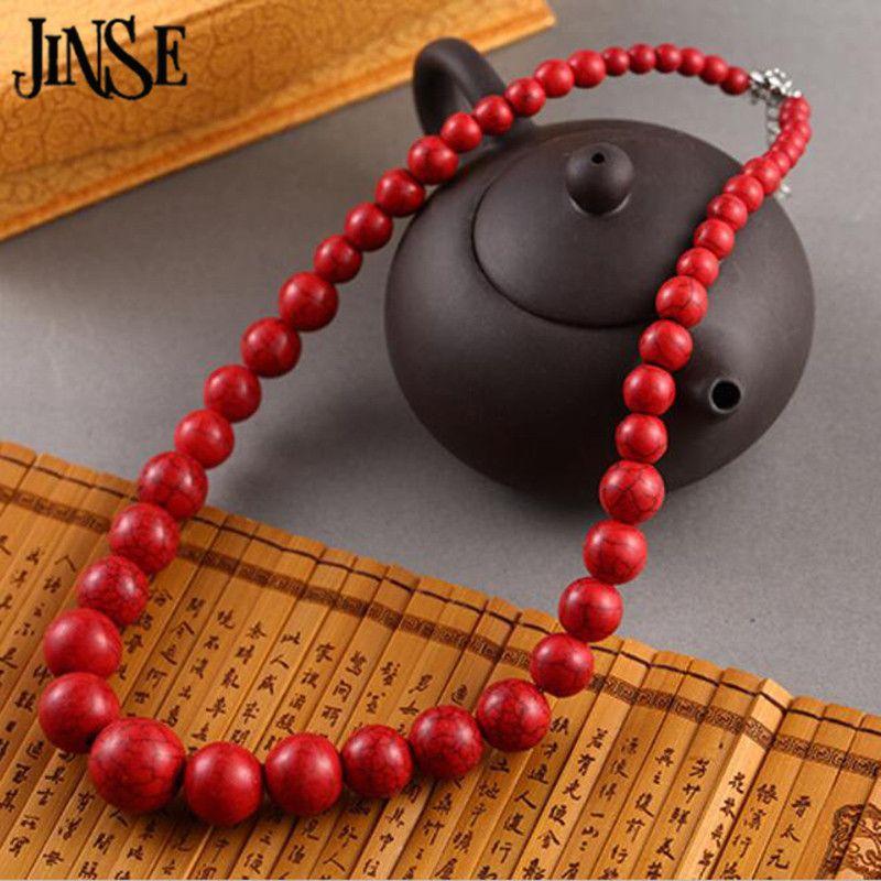JINSE 패션 보석 라운드 비즈 레드 터키석 목걸이 45 센치메터 길이 BLS073