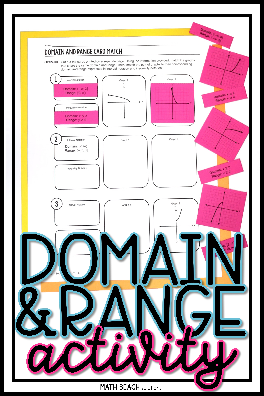 Domain and Range Card Match Activity Algebra worksheets
