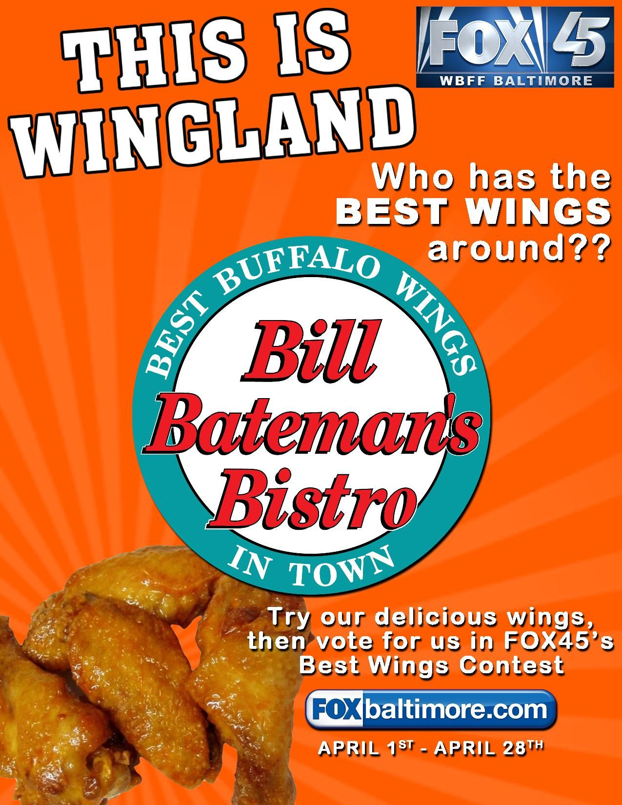 Vote daily for bill batemans bistro for best