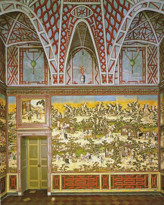 Chinese landscape wallpaper in the Palazzo Grosso in Riva di Cieri, Turin, via Carlton Hobbs