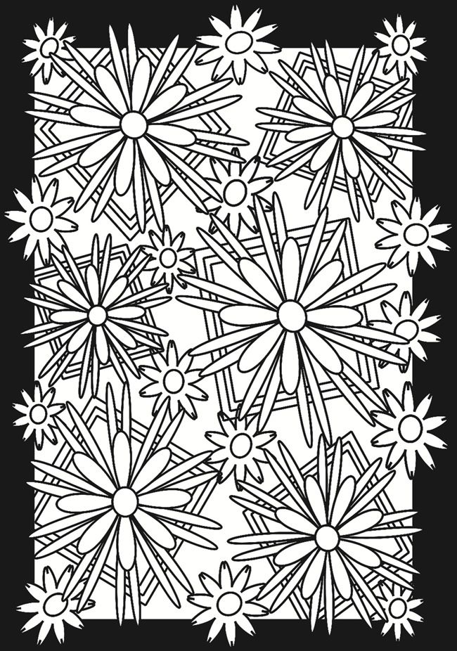 Flower Power Stained Glass Coloring Book Doodle Ideas Pinterest