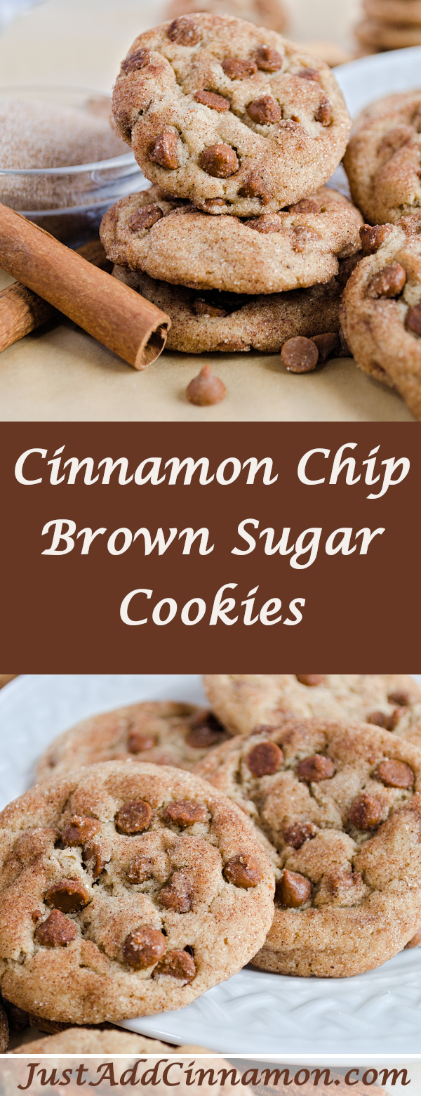Cinnamon Chip Brown Sugar Cookies #brownsugar Twist on the traditional sugar cookie, this easy recipe is made with brown sugar and a modern addition of cinnamon chips! Check out the recipe on my blog! JustAddCinnamon.com #cinnamonsugarcookies