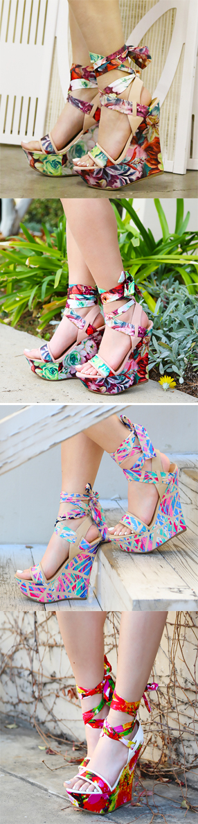 Fall in love with the Pastel Floral Wrap Wedges! These stunning wedges feature an open toe, fabric/PU upper, and ankle wrap design.Finish the look with a full skirt for an ultra feminine ensemble!