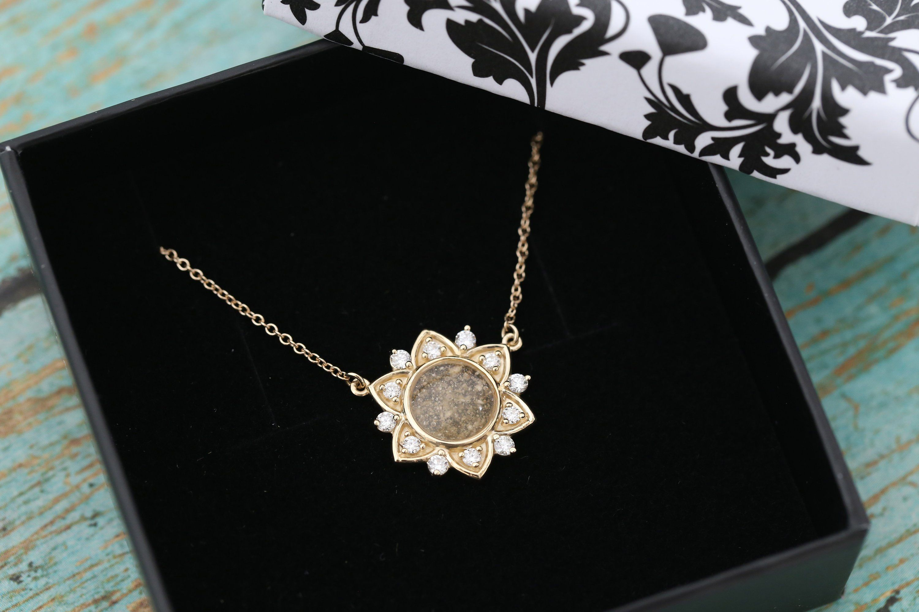 14k Yellow Gold Diamond Flower Cremation Pendant in 2020