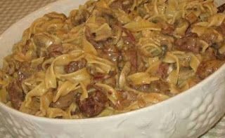 CROCK POT BEEF STROGANOFF Ingredients : 2 pounds cubed stew meat 2 cans Condensed Golden Mushroom ...