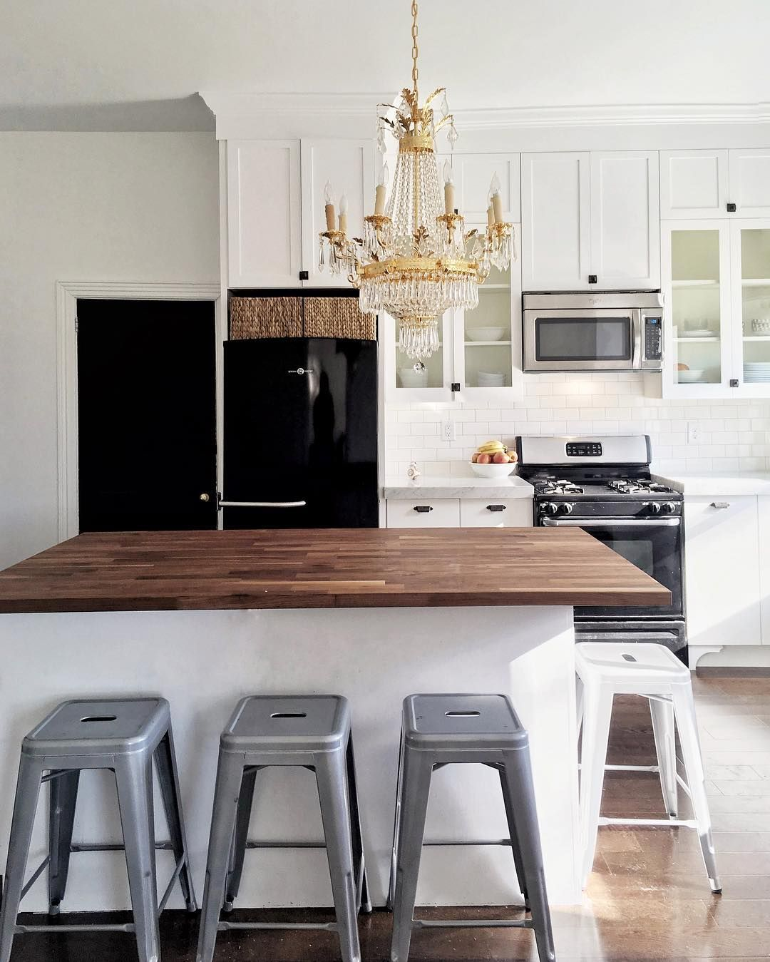 Black Kitchen Cabinets White Tile: White Cabinet, Black Appliances, Wooden Countertops, White