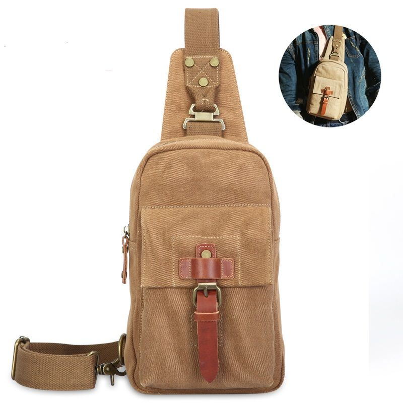European and American street style personality retro casual canvas chest  bags Shoulder Messenger shoulder bag man. Sac Pour HommesMaroquinerie HommeSacs  ... 4fb2834c3b8