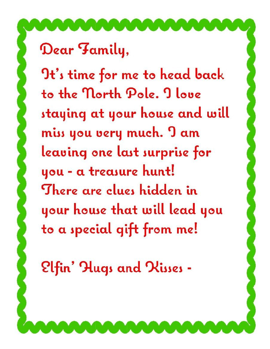 Treasure Hunt Letter  ElfoutfittersCom Elfoutfitters Elf Send