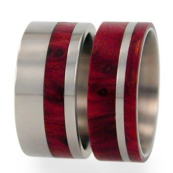 Titanium Wedding Ring Set With Redwood Water By Jewelrybyjohan, $349.00