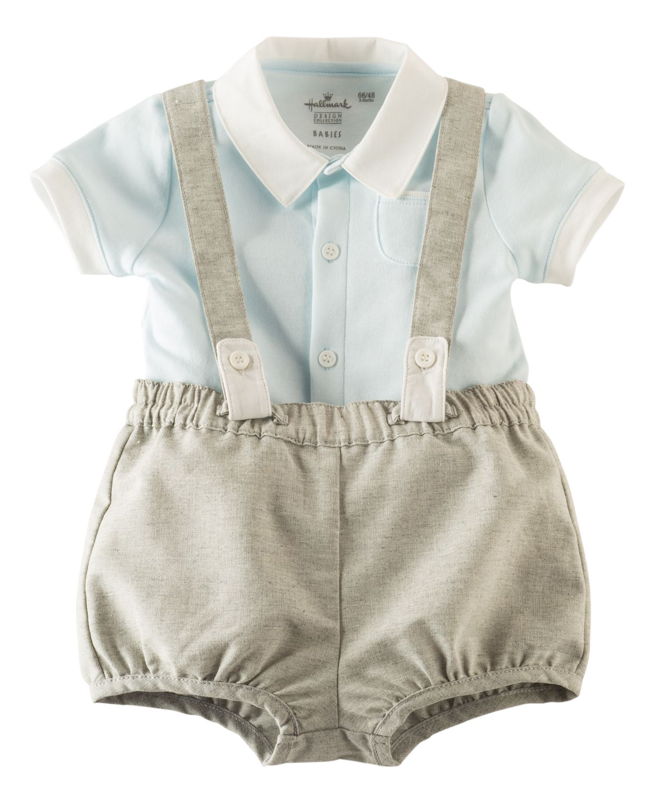 Little Lad Suspender Romper Set