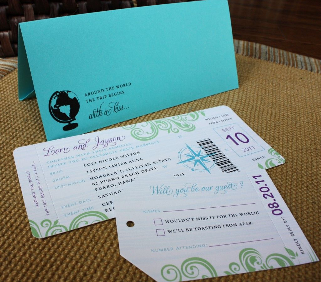 Fun invitations! Especially with the travel theme Turquoise, Purple ...