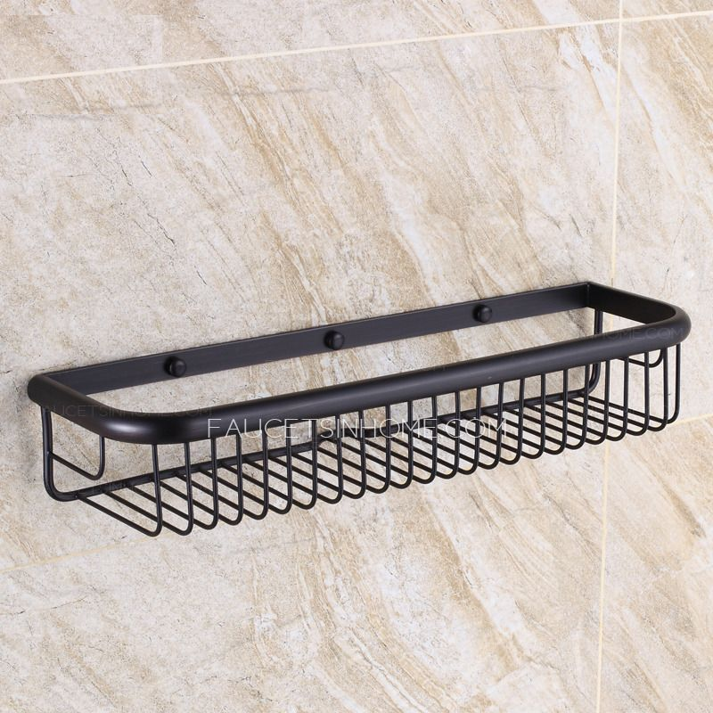 45cm Black Rectangle Wire Oil Rubbed Bronze Hanging Bathroom Shelves ...