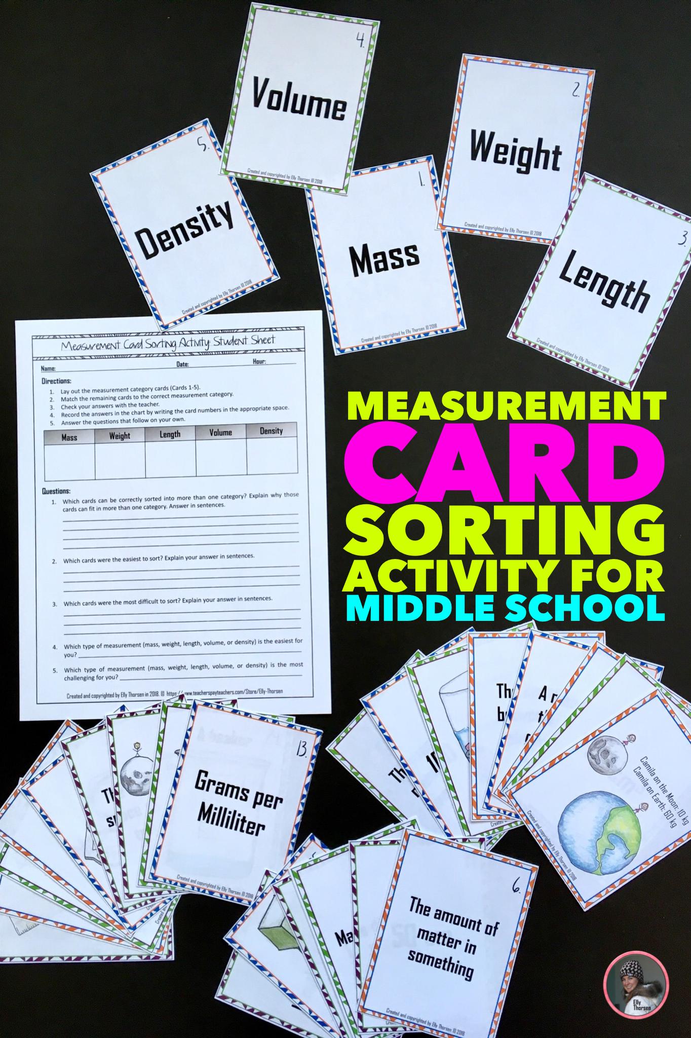 Measurement Card Sorting Activity Mass Weight Volume