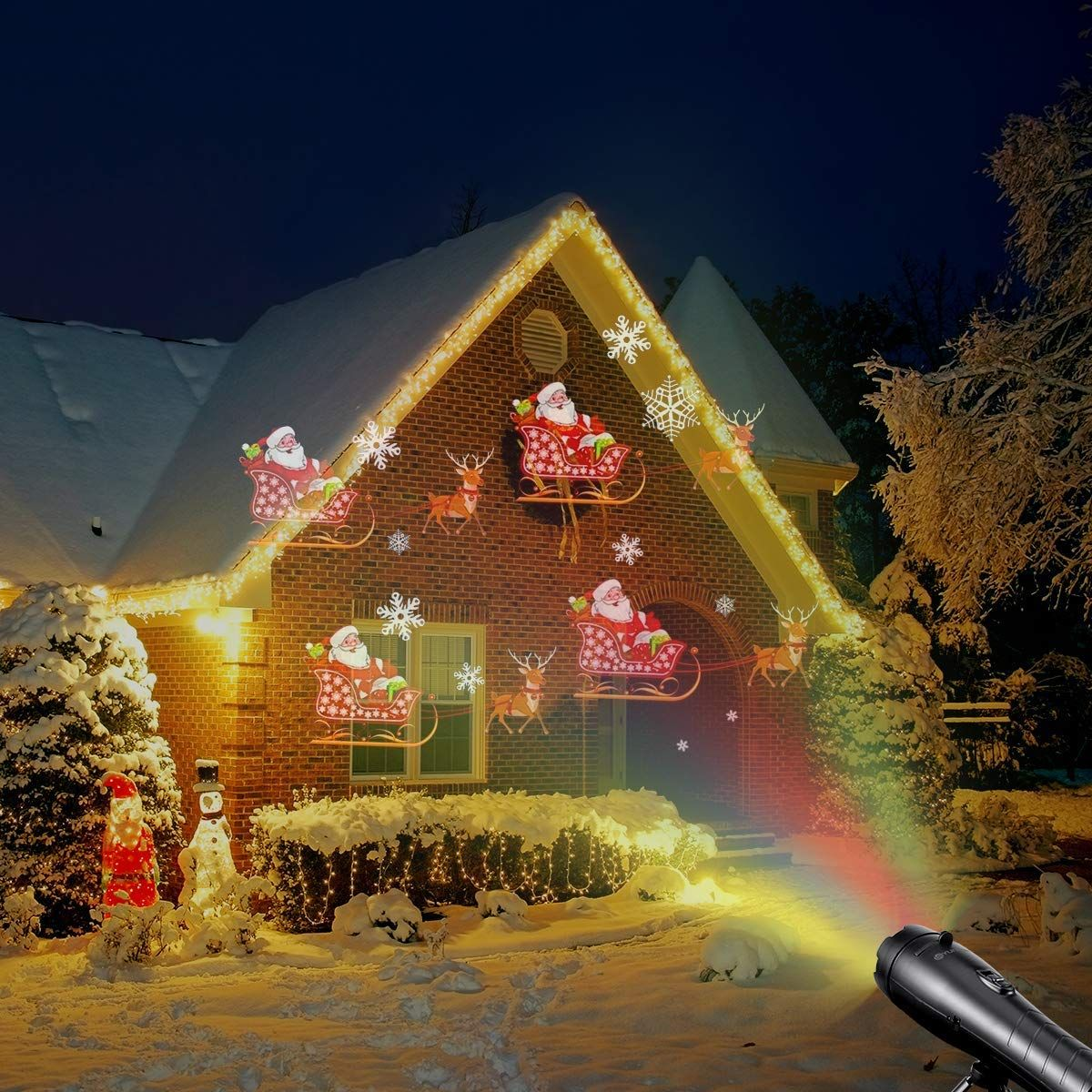 Amazon Com Christmas Projector Lights Battery Operated 2 In 1 Kids Gift Holiday Decoration Christmas Light Projector Led Christmas Lights Christmas Projector