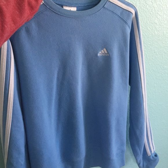 Vintage Adidas Sweatshirt Baby Blue In Great Condition And Is Thick Sweaters
