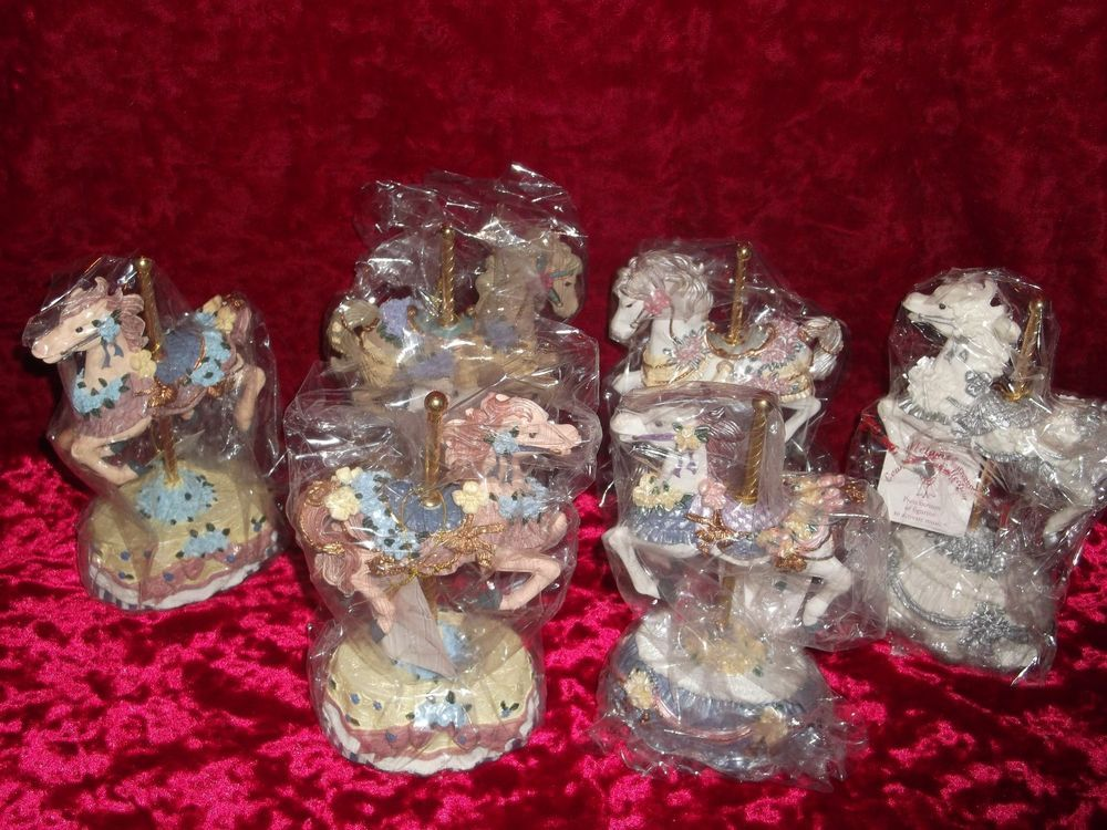 Lot of 6 Melodies County Fair Carousel Horse Music Box Set Heritage House COA