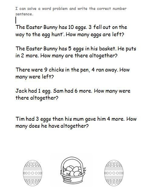 KS1 Easter word problems. Easterthemed word problems for