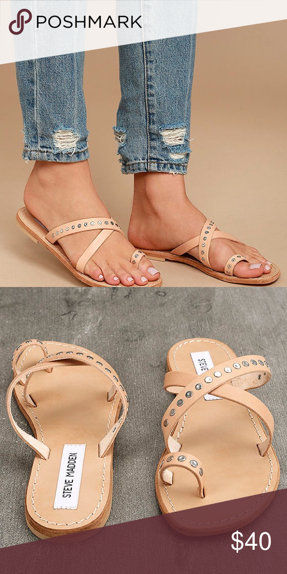 dd9de0ab4bf88f STEVE MADDEN BECKY TAN LEATHER FLAT SANDALS Worn once. Like new! Steve  Madden Shoes Sandals