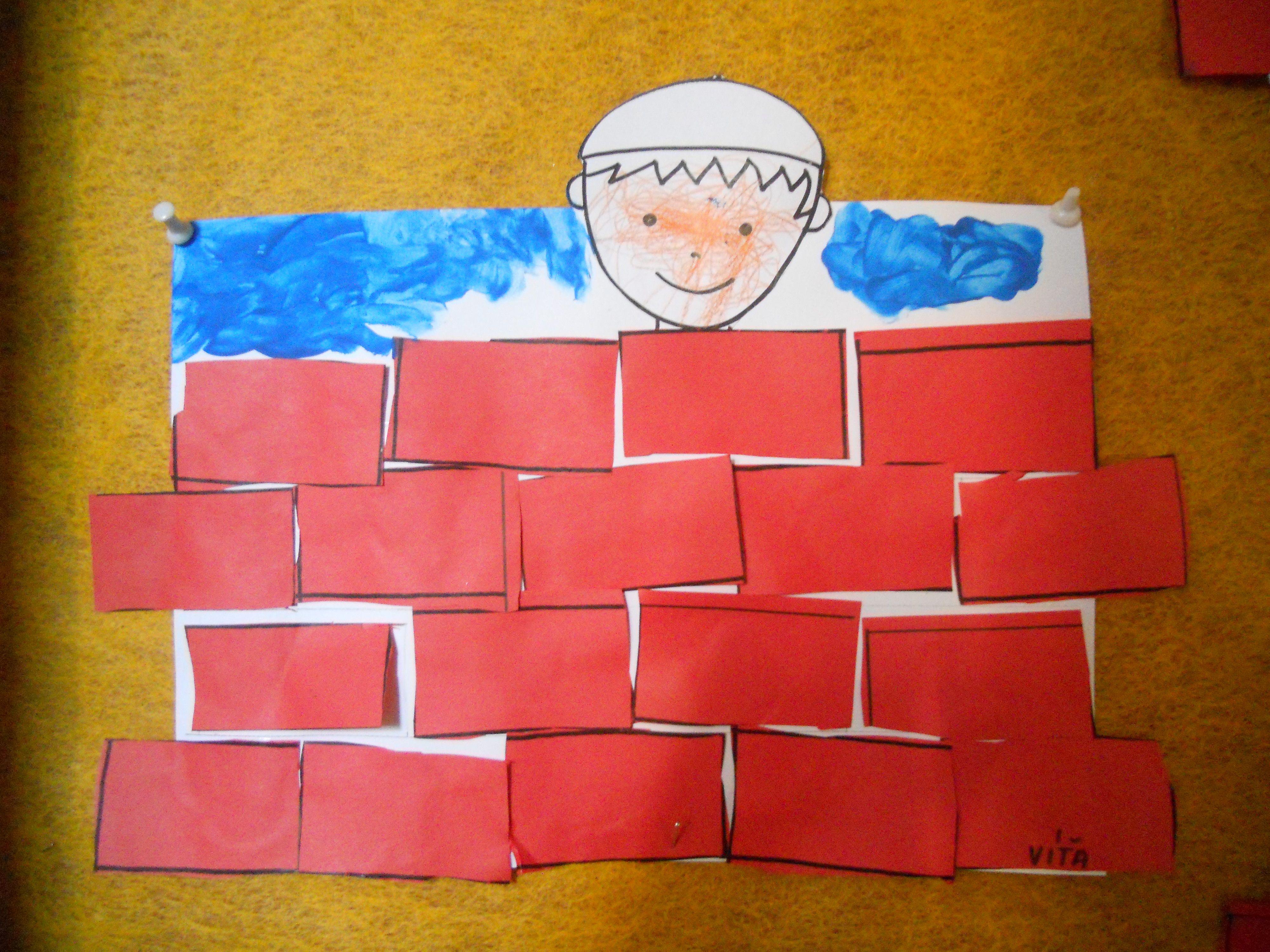 Zedník -  poskládané vystřižené cihly, dolepená hlava
