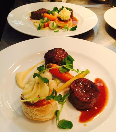 Trio Of Welsh Beef Main Course Including A 28 Day Fillet Steak Slow Cooked Shin And Cottage Pie Main Course Fine Dining Recipes Wedding Food