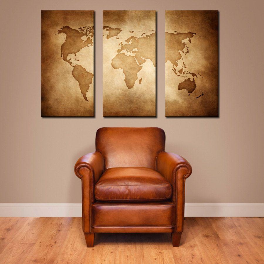 decor modern wanderlust art home large map vintage canvas wall world globe pin