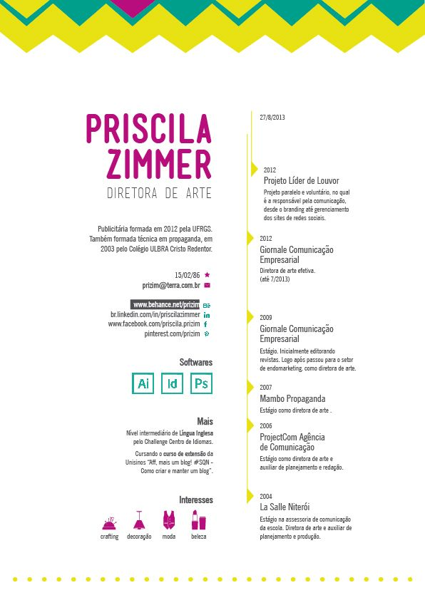 great modern look  creative resume design  resume style  cv  curriculum vitae resume by priscila