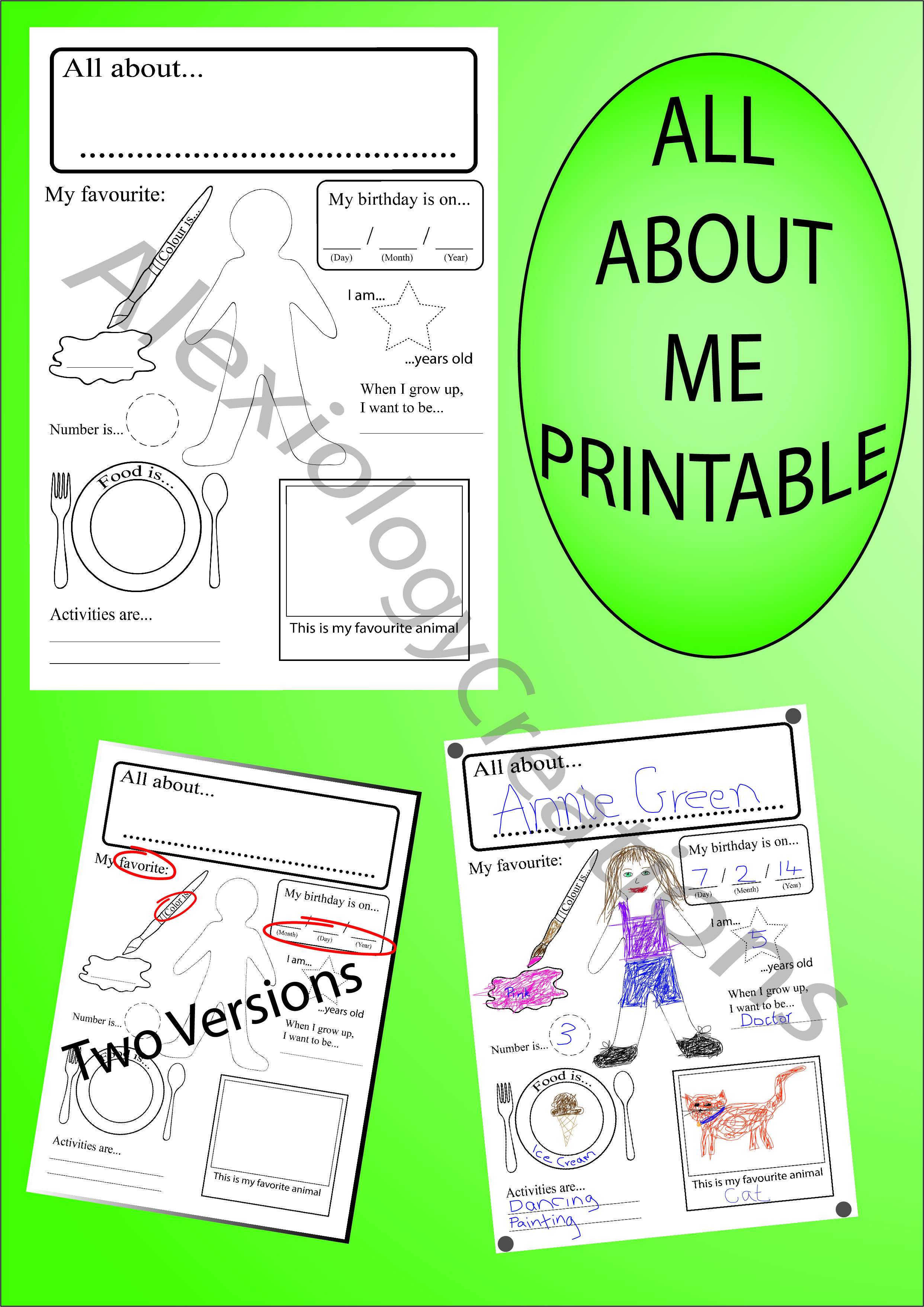 image regarding All About Me Page Printable titled All with regards to me, printable, electronic obtain