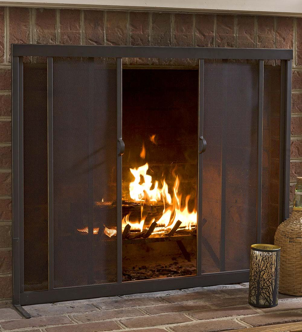 Fire Screen With Sliding Doors 44 X 33 Collection Accessories Fireplace Fireplace Doors Fireplace Screens