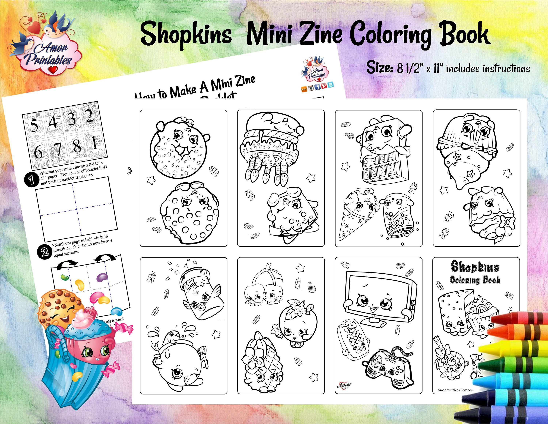 Shopkins Mini Coloring Pages Mini Zine Coloring Pages Etsy Printable Coloring Book Shopkins Party Coloring Books