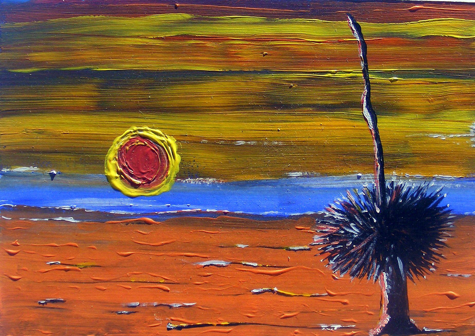 My Art. Paradise my Arse. Acrylic on canvas board.