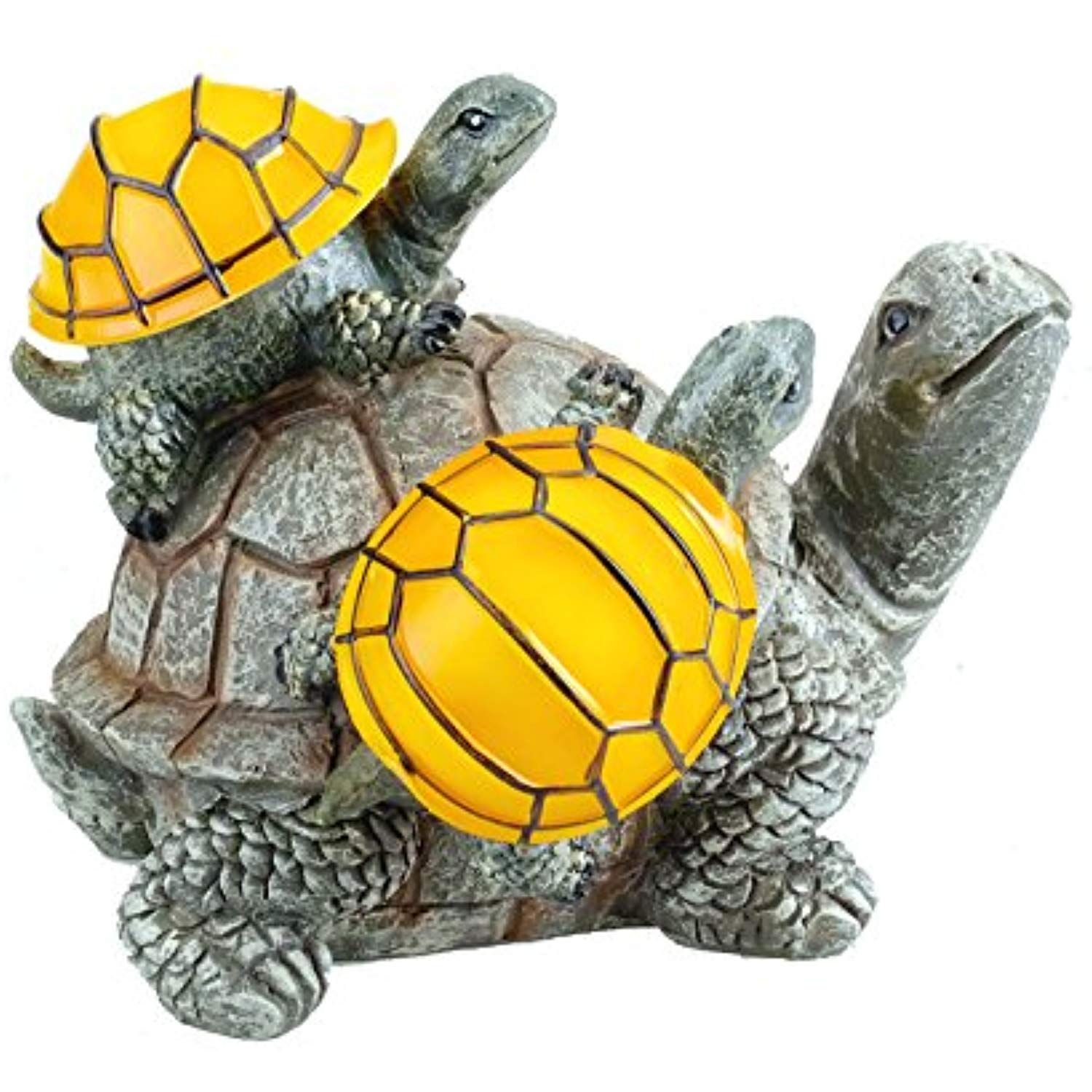 Solar Powered 2 Baby Turtles on Mama Turtle Outdoor Accent