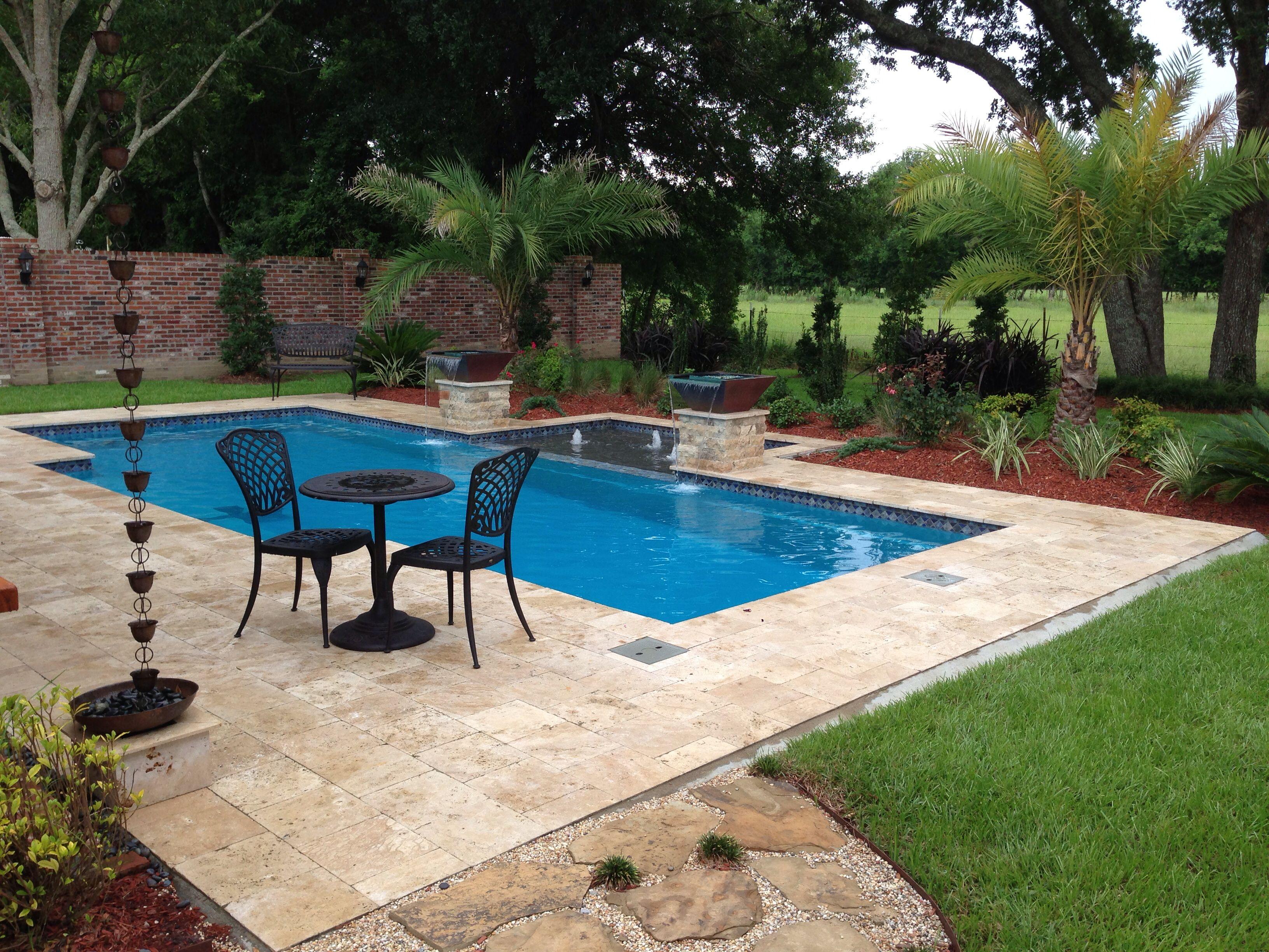 Fiberglass Pool, Tanning Ledge, Travertine, Pavers Cajun