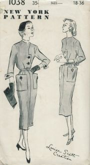 An unused original ca. 1950's New York Pattern 1038. Button-trimmed dress. Button-closing waist has collarless neck; Neck and front edges underfaced; 3/4 or short sleeves. Four-piece skirt has hip pocket; Removable belt.