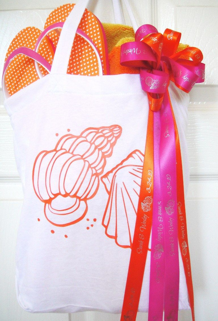 Inside a beach themed wedding welcome bag   ribbon to temporarily ...