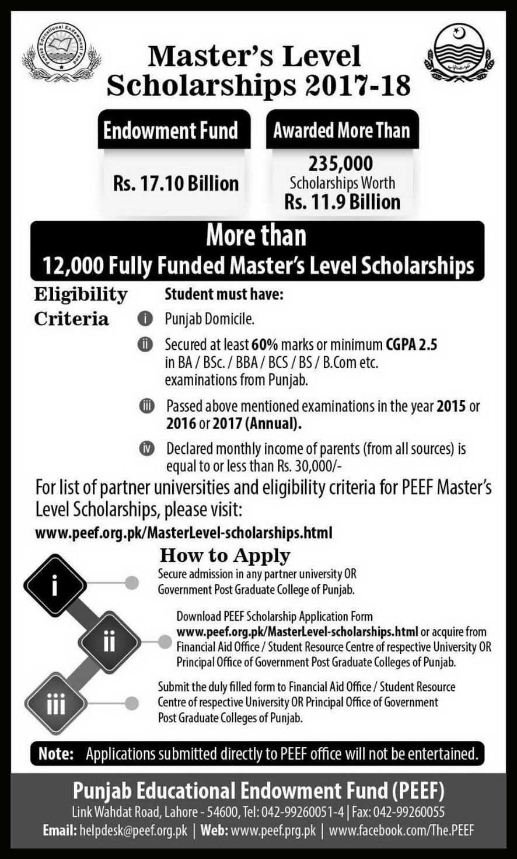 Masters Level Scholarships  Latest ScholarshipS For