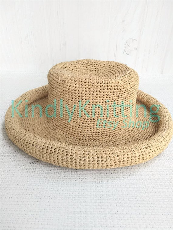 d4fc64c9fdd Womens summer raffia hat Summer straw hats with brim for large heads women  Crochet raffia sun hat wo